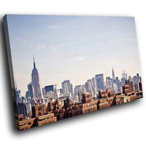 SC292 Framed Canvas Print Colourful Modern Scenic Wall Art - Retro Blue New York Skyline-Canvas Print-WhatsOnYourWall