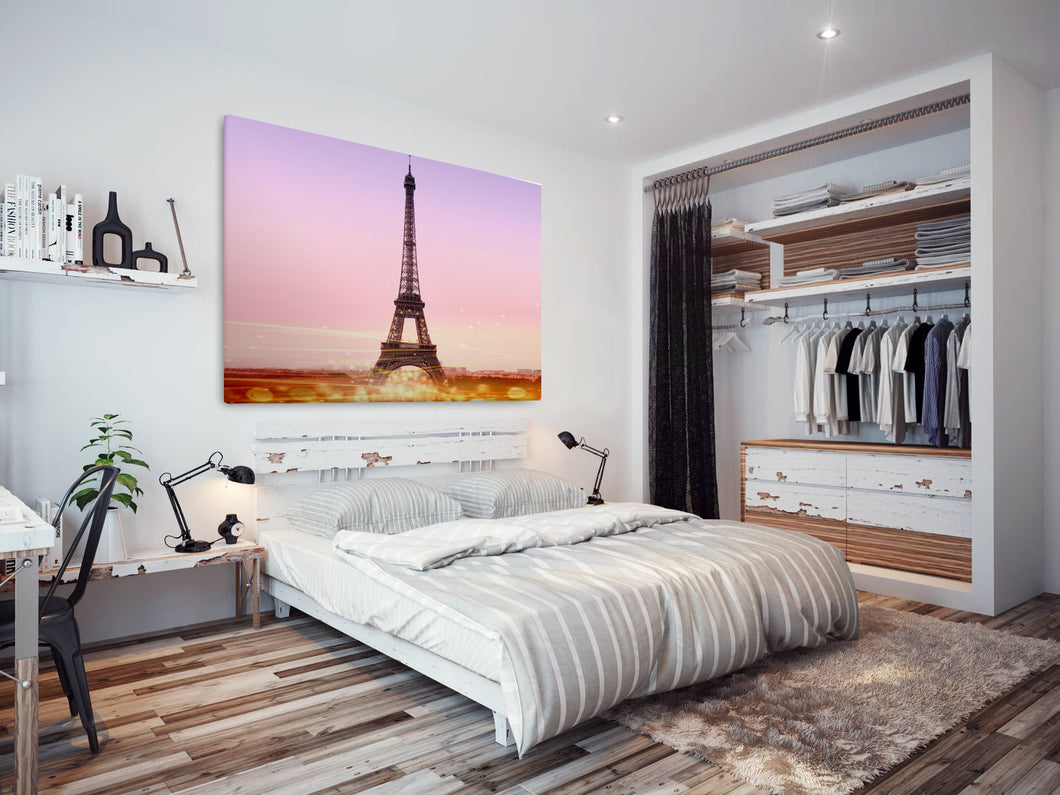 SC298 Framed Canvas Print Colourful Modern Scenic Wall Art - Eiffel Tower Purple Pink-Canvas Print-WhatsOnYourWall