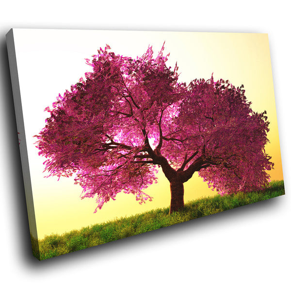 SC299 Framed Canvas Print Colourful Modern Scenic Wall Art - Purple Yellow Tree Retro Cool-Canvas Print-WhatsOnYourWall