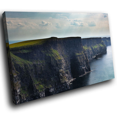 SC428 Framed Canvas Print Colourful Modern Scenic Wall Art - Cliff Sea Ireland Nature