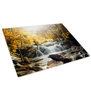 Yellow Forest Waterfall Glass Chopping Board Kitchen Worktop Saver Protector - C438-Scenic Chopping Board-WhatsOnYourWall