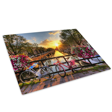 Amsterdam Bicycle Bridge Glass Chopping Board Kitchen Worktop Saver Protector - C455-Scenic Chopping Board-WhatsOnYourWall