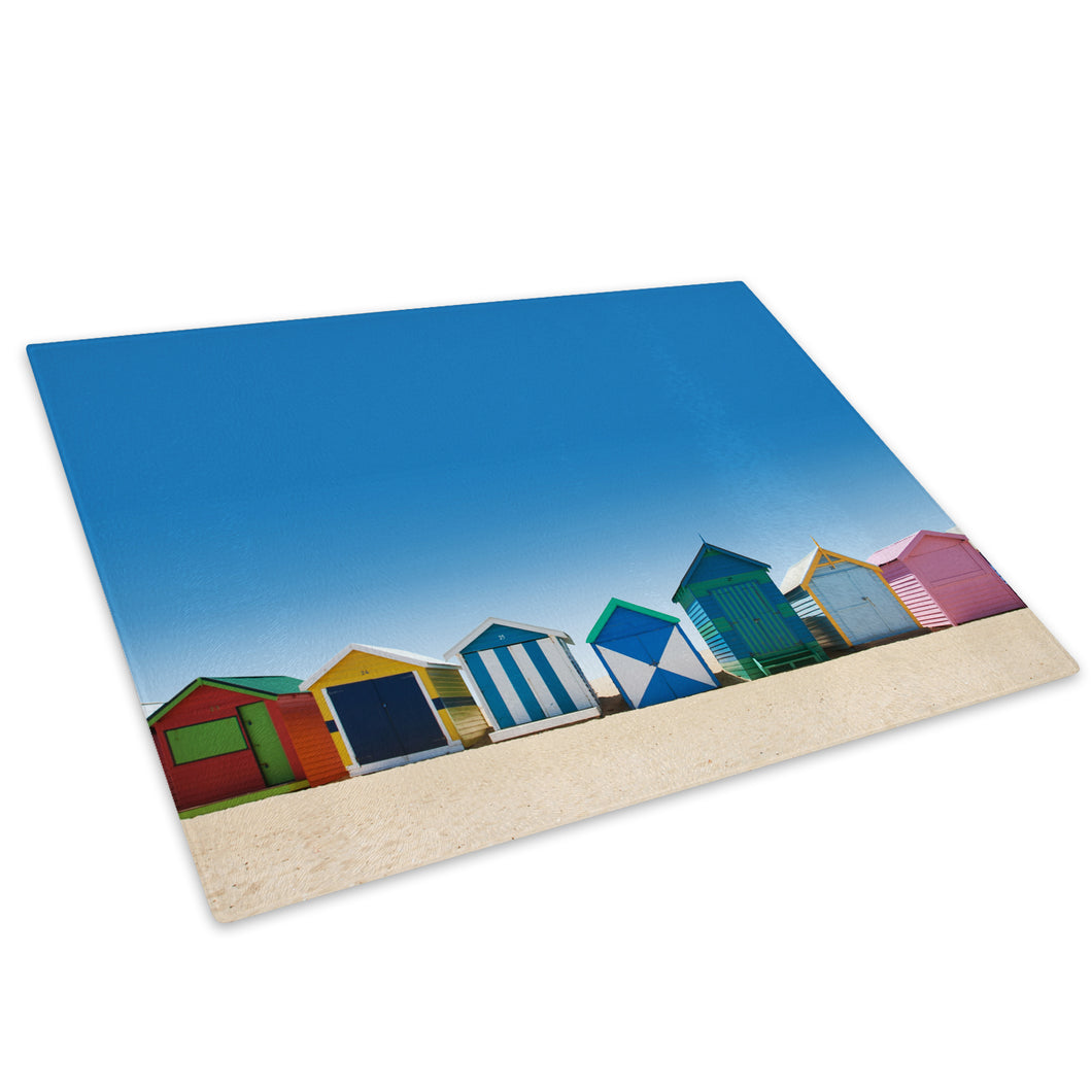 Colourful Beach Hut Retro Glass Chopping Board Kitchen Worktop Saver Protector - C490-Scenic Chopping Board-WhatsOnYourWall