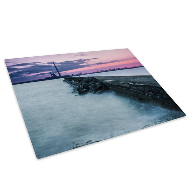 Pink Purple Sunset Pier Glass Chopping Board Kitchen Worktop Saver Protector - C506-Scenic Chopping Board-WhatsOnYourWall