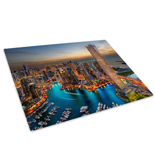 Colourful City Sky Sunset Glass Chopping Board Kitchen Worktop Saver Protector - C509-Scenic Chopping Board-WhatsOnYourWall