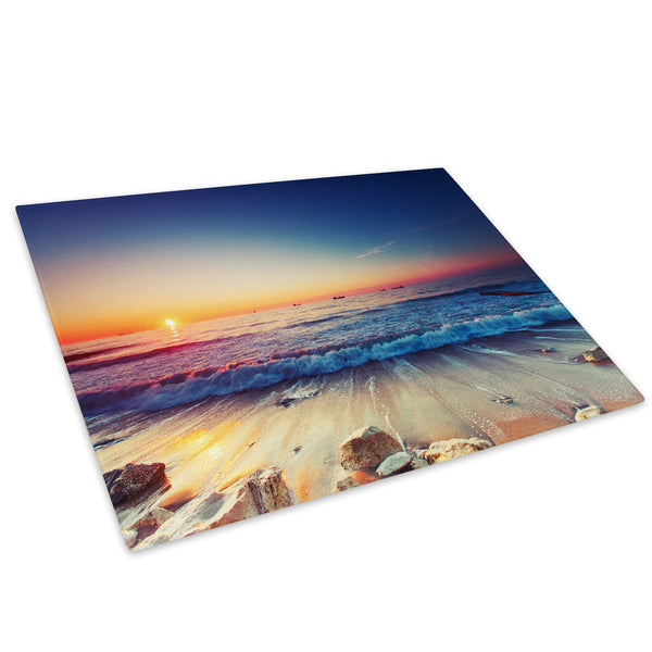 Blue Orange Beach Sunset Glass Chopping Board Kitchen Worktop Saver Protector - C520-Scenic Chopping Board-WhatsOnYourWall