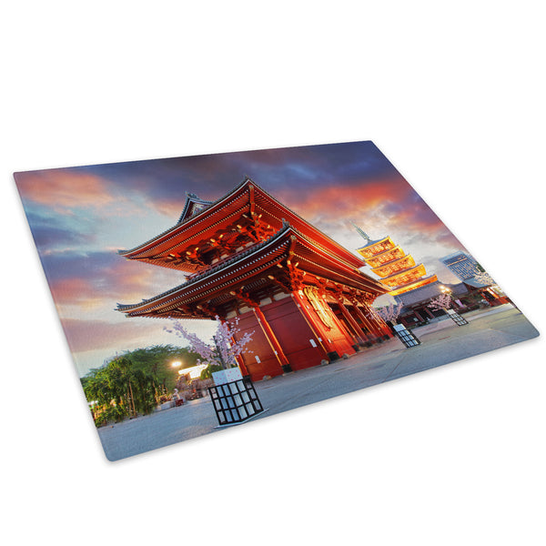 Red Oriental Temple Sunset Glass Chopping Board Kitchen Worktop Saver Protector - C524-Scenic Chopping Board-WhatsOnYourWall