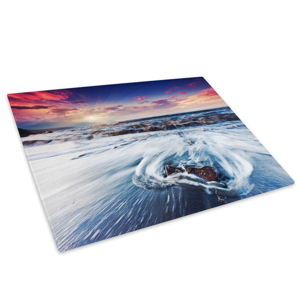 Blue Orange Sunset Nature Glass Chopping Board Kitchen Worktop Saver Protector - C526-Scenic Chopping Board-WhatsOnYourWall