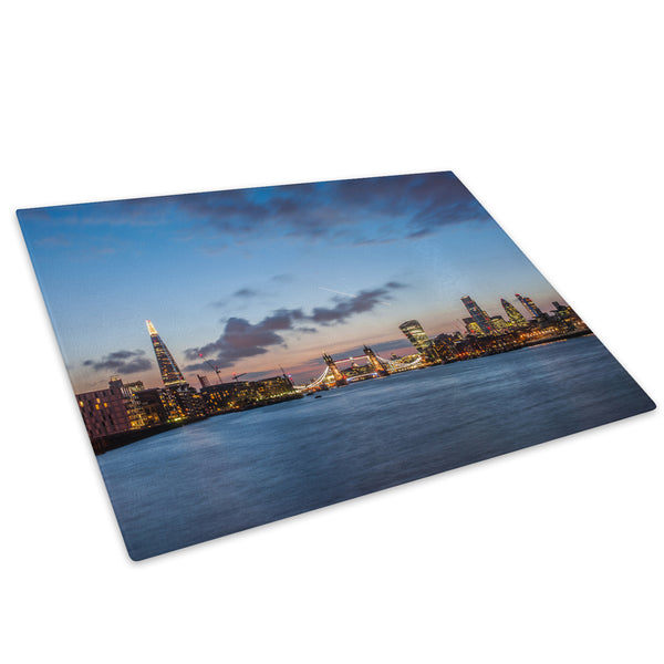 London City Skyline Sunset Glass Chopping Board Kitchen Worktop Saver Protector - C534-Scenic Chopping Board-WhatsOnYourWall