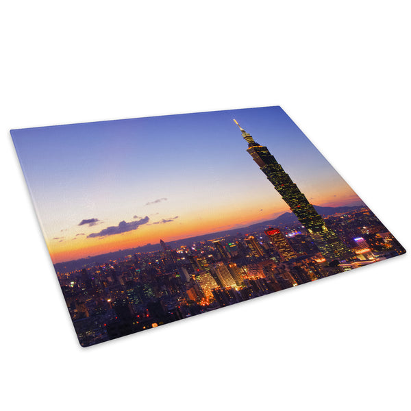 Blue Orange City Sunset Glass Chopping Board Kitchen Worktop Saver Protector - C535-Scenic Chopping Board-WhatsOnYourWall