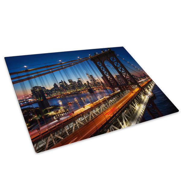 New York City Bridge Sunset Glass Chopping Board Kitchen Worktop Saver Protector - C540-Scenic Chopping Board-WhatsOnYourWall