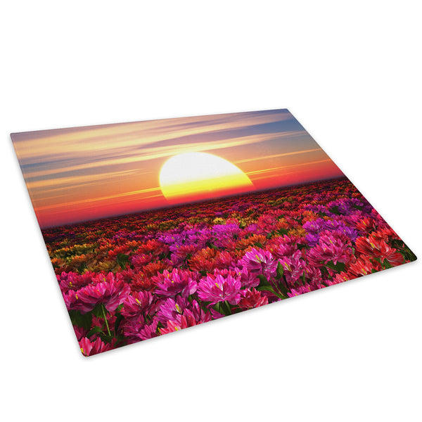 Colourful Sunset Flowers Glass Chopping Board Kitchen Worktop Saver Protector - C541-Scenic Chopping Board-WhatsOnYourWall