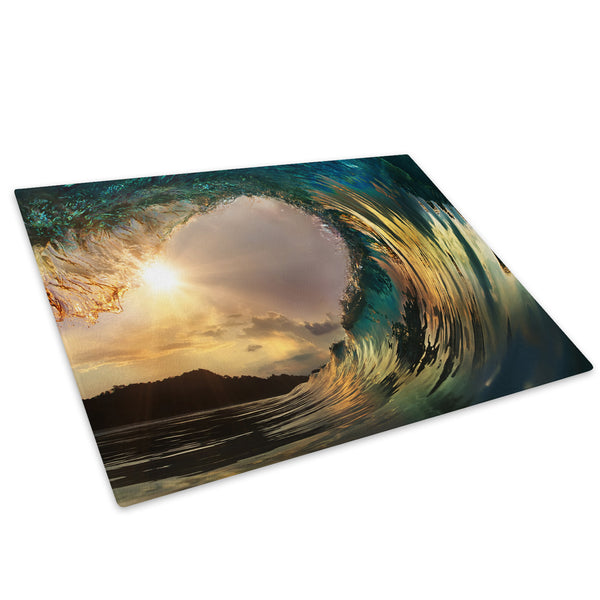 Blue Yellow Grey Wave Glass Chopping Board Kitchen Worktop Saver Protector - C549-Scenic Chopping Board-WhatsOnYourWall