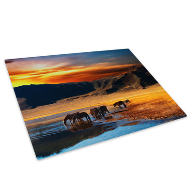 Orange Blue Horses Sunset Glass Chopping Board Kitchen Worktop Saver Protector - C586-Scenic Chopping Board-WhatsOnYourWall