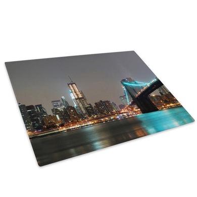 Modern City Skyline Sunset Glass Chopping Board Kitchen Worktop Saver Protector - C603-Scenic Chopping Board-WhatsOnYourWall