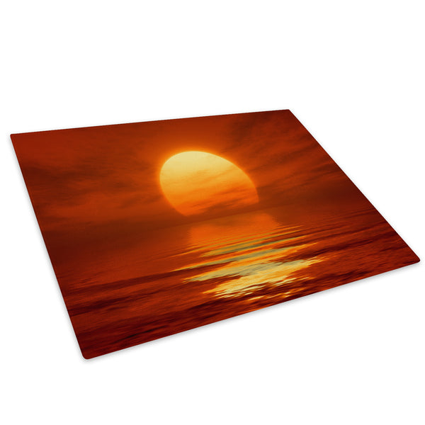 Orange Beach Sunset Nature Glass Chopping Board Kitchen Worktop Saver Protector - C633-Scenic Chopping Board-WhatsOnYourWall