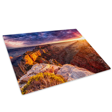 Orange Grand Canyon Sunset Glass Chopping Board Kitchen Worktop Saver Protector - C644-Scenic Chopping Board-WhatsOnYourWall