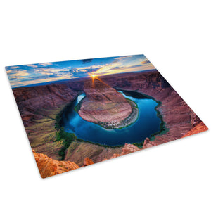 Grand Canyon River Sunset Glass Chopping Board Kitchen Worktop Saver Protector - C645-Scenic Chopping Board-WhatsOnYourWall
