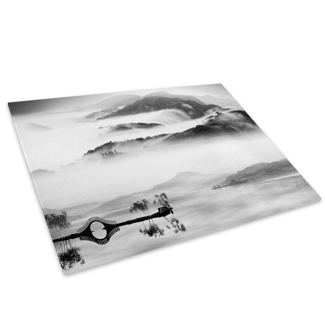 Black White Mountain Lake Glass Chopping Board Kitchen Worktop Saver Protector - C650-Scenic Chopping Board-WhatsOnYourWall