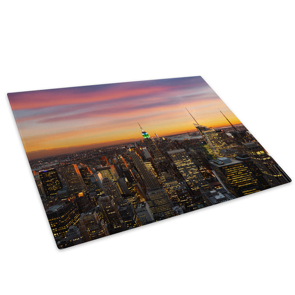 Pink Orange New York Sunset Glass Chopping Board Kitchen Worktop Saver Protector - C660-Scenic Chopping Board-WhatsOnYourWall