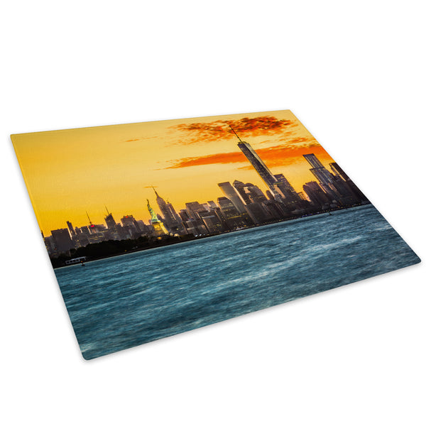 Orange Blue New York Sunset Glass Chopping Board Kitchen Worktop Saver Protector - C679-Scenic Chopping Board-WhatsOnYourWall
