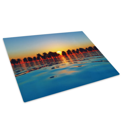 Orange Yellow Blue Sunset Glass Chopping Board Kitchen Worktop Saver Protector - C689-Scenic Chopping Board-WhatsOnYourWall