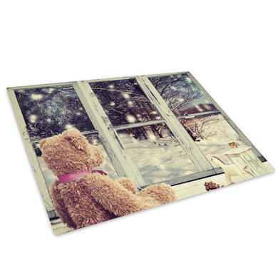 Christmas Bear Snow Tree Glass Chopping Board Kitchen Worktop Saver Protector - C697-Scenic Chopping Board-WhatsOnYourWall