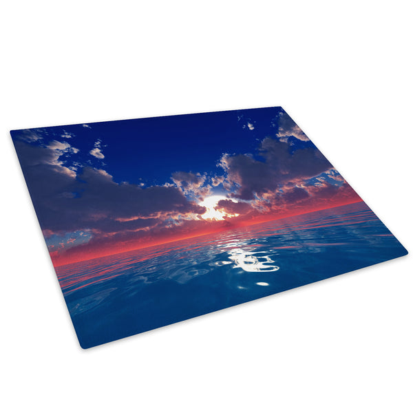 Red Blue Ocean Sunset Glass Chopping Board Kitchen Worktop Saver Protector - C705-Scenic Chopping Board-WhatsOnYourWall