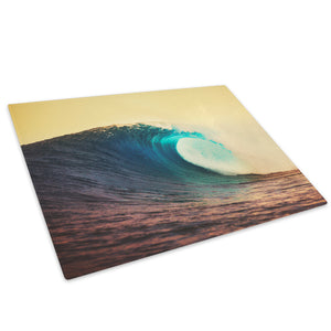 Yellow Blue Wave Nature Glass Chopping Board Kitchen Worktop Saver Protector - C710-Scenic Chopping Board-WhatsOnYourWall