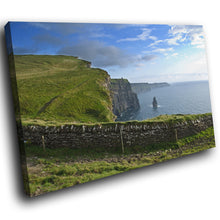 SC766 Framed Canvas Print Colourful Modern Scenic Wall Art - Green Blue Cliff Ireland