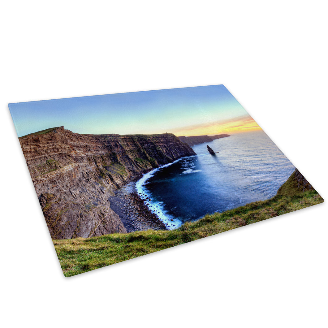 Blue Cliff Sunset Ireland Glass Chopping Board Kitchen Worktop Saver Protector - C769-Scenic Chopping Board-WhatsOnYourWall