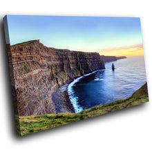 SC769 Framed Canvas Print Colourful Modern Scenic Wall Art - Blue Cliff Sunset Ireland