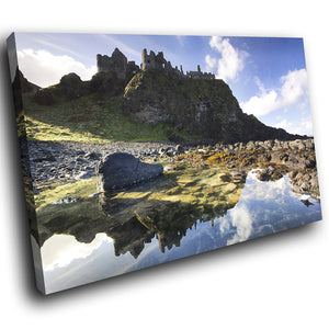 SC772 Framed Canvas Print Colourful Modern Scenic Wall Art - Blue Green Castle Ireland