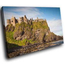 SC782 Framed Canvas Print Colourful Modern Scenic Wall Art - Green Blue Castle Ireland