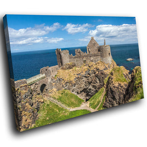 SC783 Framed Canvas Print Colourful Modern Scenic Wall Art - Green Blue Castle Ireland