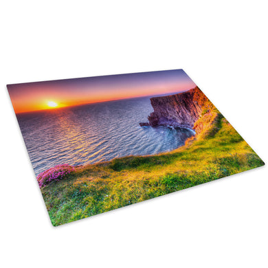 Colourful Cliff Sunset Glass Chopping Board Kitchen Worktop Saver Protector - C791-Scenic Chopping Board-WhatsOnYourWall