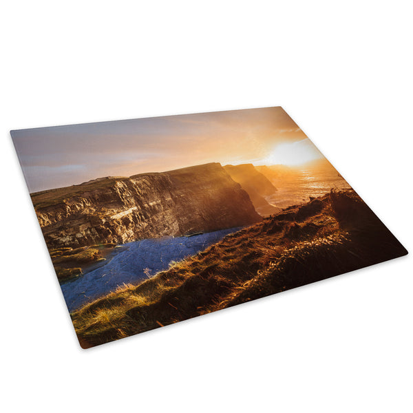 Blue Orange Cliff Sunset Glass Chopping Board Kitchen Worktop Saver Protector - C794-Scenic Chopping Board-WhatsOnYourWall