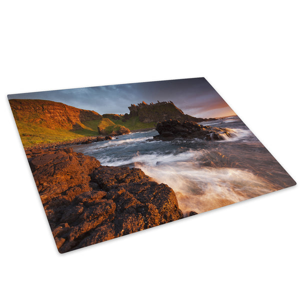 Blue Orange Castle Sunset Glass Chopping Board Kitchen Worktop Saver Protector - C795-Scenic Chopping Board-WhatsOnYourWall