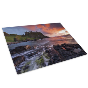Green Orange Castle Sunset Glass Chopping Board Kitchen Worktop Saver Protector - C796-Scenic Chopping Board-WhatsOnYourWall