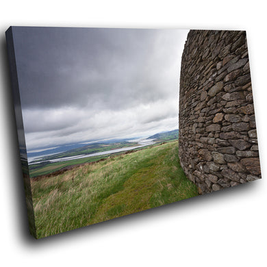 SC797 Framed Canvas Print Colourful Modern Scenic Wall Art - Green Grey Stone Ireland
