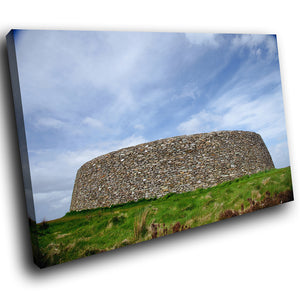 SC813 Framed Canvas Print Colourful Modern Scenic Wall Art - Green Blue Ireland Stone Fort