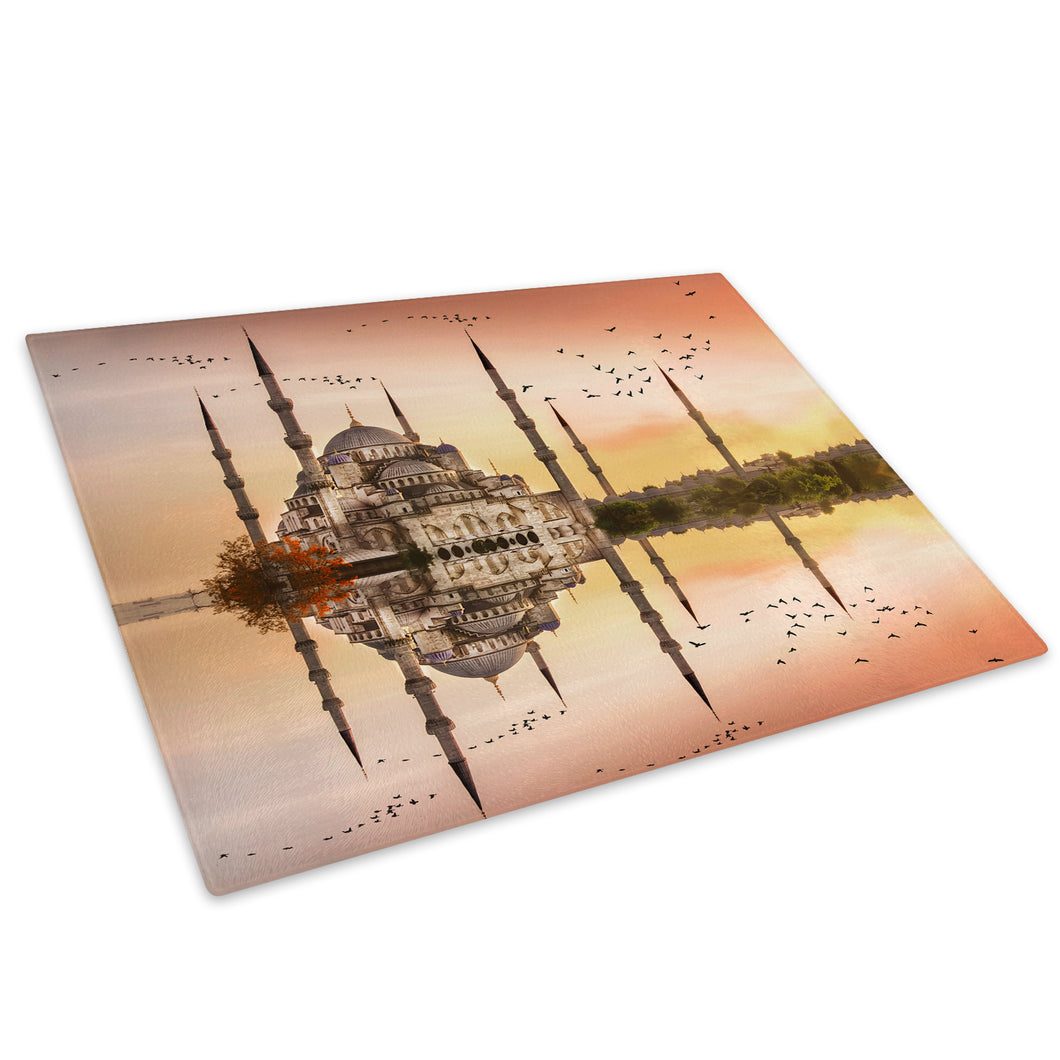 Pink Orange Mosque Sunset Glass Chopping Board Kitchen Worktop Saver Protector - C818-Scenic Chopping Board-WhatsOnYourWall