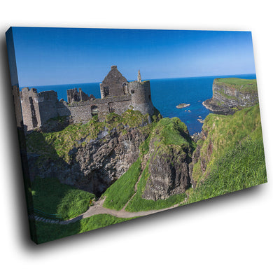 SC819 Framed Canvas Print Colourful Modern Scenic Wall Art - Blue Green Castle Ireland