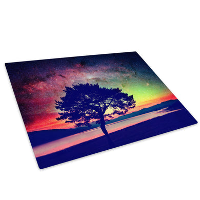 Colourful Tree Sunset Cool Glass Chopping Board Kitchen Worktop Saver Protector - C826-Scenic Chopping Board-WhatsOnYourWall