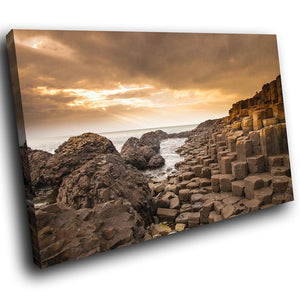 SC829 Framed Canvas Print Colourful Modern Scenic Wall Art - Brown Giants Causeway Ireland