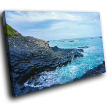 SC831 Framed Canvas Print Colourful Modern Scenic Wall Art - Blue Giants Causeway Ireland
