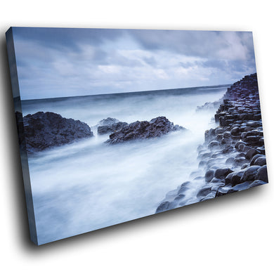 SC843 Framed Canvas Print Colourful Modern Scenic Wall Art - Blue Giants Causeway Ireland