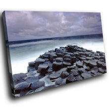 SC844 Framed Canvas Print Colourful Modern Scenic Wall Art - Blue Giants Causeway Ireland