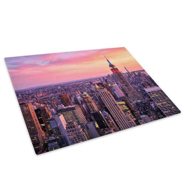 Pink Orange New York Sunset Glass Chopping Board Kitchen Worktop Saver Protector - C846-Scenic Chopping Board-WhatsOnYourWall