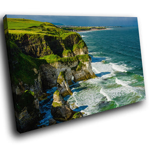 SC855 Framed Canvas Print Colourful Modern Scenic Wall Art - Green Blue Cliff Ireland